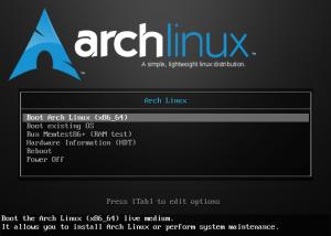 Arch Installation Startbildschirm