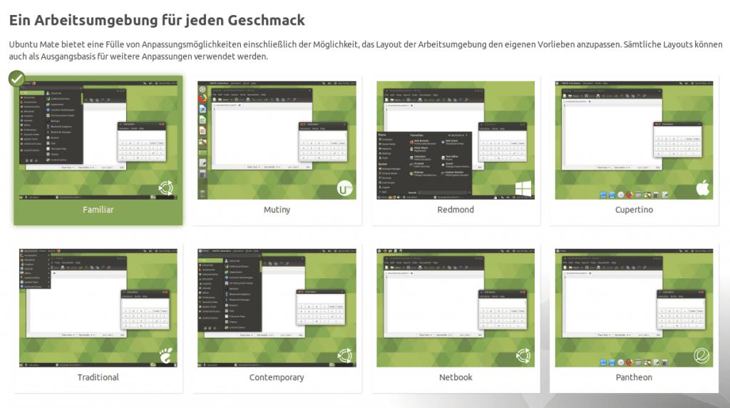 Ubuntu Mate - Arbeitsumgebung wählen